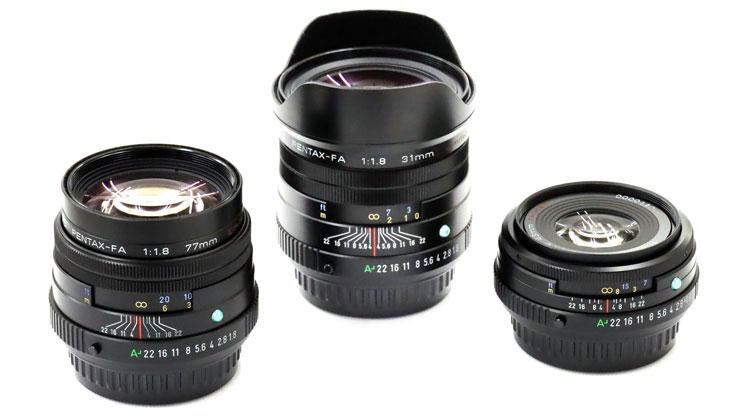 HD PENTAX-FA 31mmF1.8 Limited、43mmF1.9 Limited、77mmF1.8 Limited
